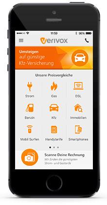 Bild vom Interface der Verivox-App auf einem iPhone