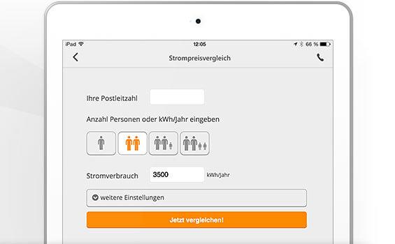 Bild vom Interface der Verivox-App auf einem Smartphone