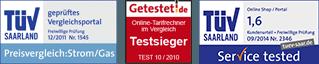 Geprüftes Vergleichsportal Strom/Gas, Getestet.de Testsieger, TÜV SEHR GUT